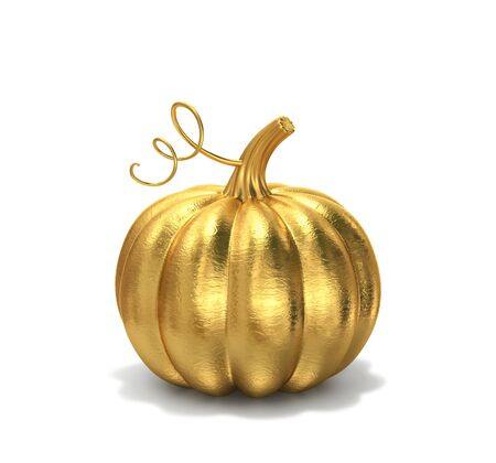 Golden pumpkin isolated on white background. 3D rendering with clipping path