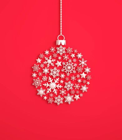 White snowflakes in the shape of a christmas ball on red background. 3D rendering