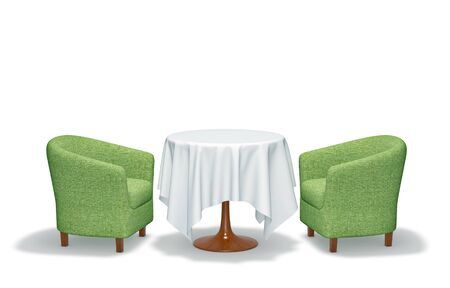 Table and two armchair isolated on white. 3D rendering with clipping path