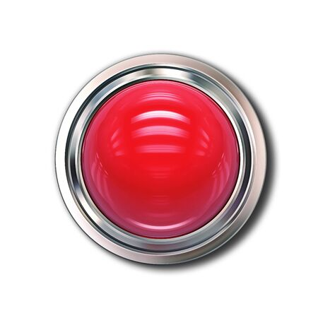 Red glass button isolated on white background. 3D rendering with clipping path