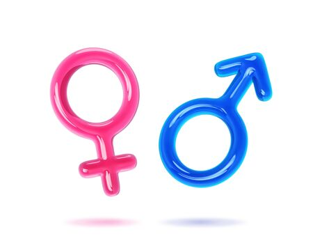 Male and female gender symbols isolated on white. 3D rendering with clipping path