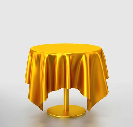 Golden table with tablecloth on gray background. 3D rendering with clippin path