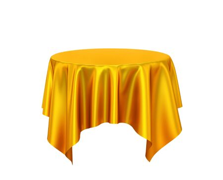 Golden silk tablecloth, presentation pedestal isolated on white. 3D rendering 写真素材