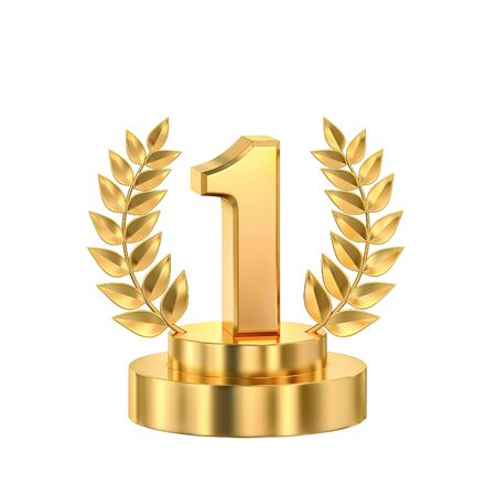 First place, golden trophy with laurel wreath isolated on white. 3D rendering with clipping path