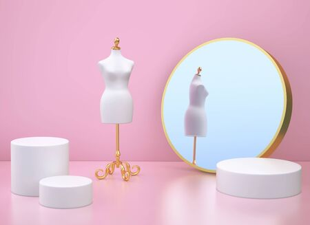 Clothing mannequin and mirror in pink room. 3D rendering 写真素材