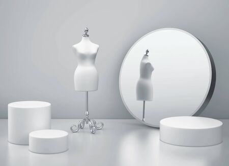 White clothing mannequin and mirror in gray room. 3D rendering 写真素材