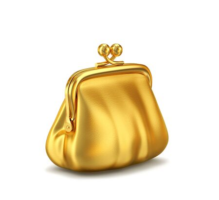 Gold leather purse isolated on white background. 3D rendering 写真素材