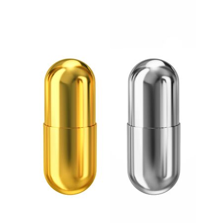 Gold and silver metal capsules isolated on white background. 3D rendering