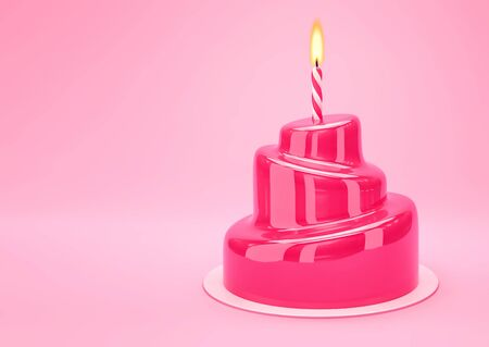 Vibrant pink glazed cake with one candle on pink background. 3D rendering 写真素材