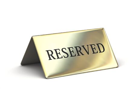 Metal reserved sign isolated on white backgroung. 3D rendering with clipping path Zdjęcie Seryjne