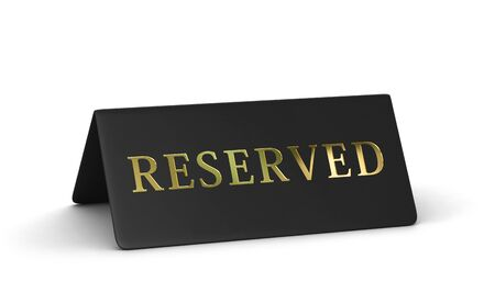 Black reserved sign isolated on white backgroung. 3D rendering with clipping path