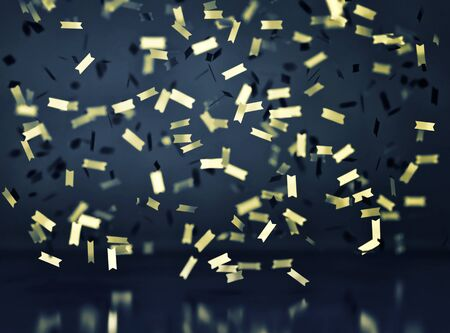 Abstract blue background with falling gold confetti. 3D rendering