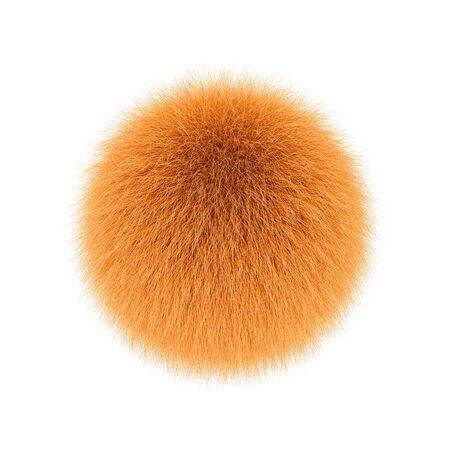 Orange fluffy ball, fur pompon isolated on white background. 3D rendering