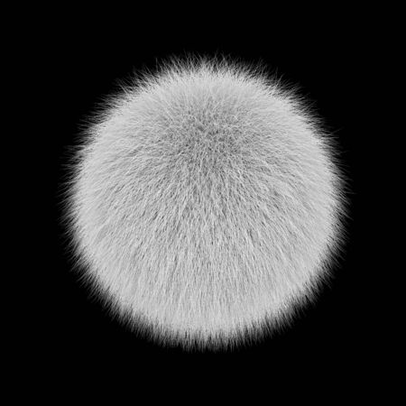 White fluffy ball, fur pompon isolated on black background. 3D rendering