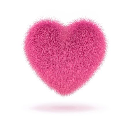 Pink fluffy heart isolated on white background. 3D rendering Zdjęcie Seryjne