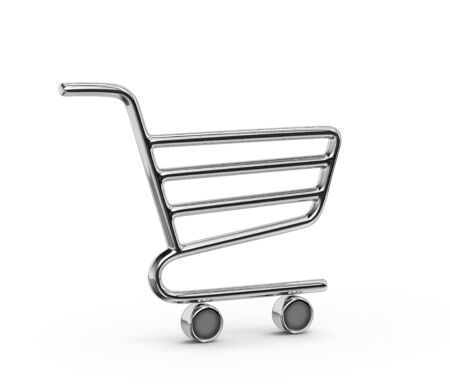 Metal shopping cart icon isolated on white. 3D rendering with