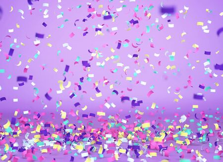 Colorful confetti falling on purple background, celebration background. 3D rendering Zdjęcie Seryjne