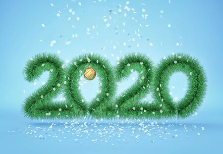 Happy new year 2020. Christmas fluffy garland with falling snowflakes on blue  background. 3D rendering Zdjęcie Seryjne - 136671367