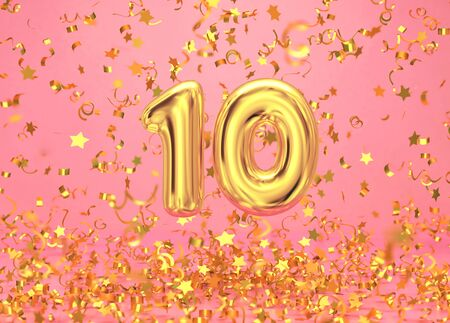 Golden number 10 with confetti falling on pink background, anniversary celebration. 3D rendering Zdjęcie Seryjne - 136673733