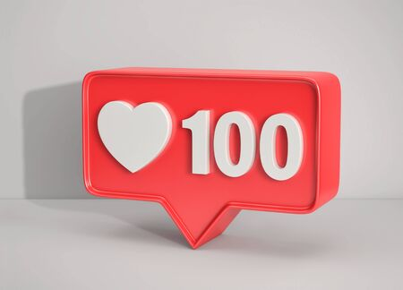 Social media notification icon. Like symbol with number 100 on gray background. 3D rendering