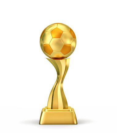 Golden ball, soccer winners trophy isolated on white. 3D rendering