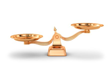 Copper balance scales isolated on white. 3D rendering Zdjęcie Seryjne - 136673739