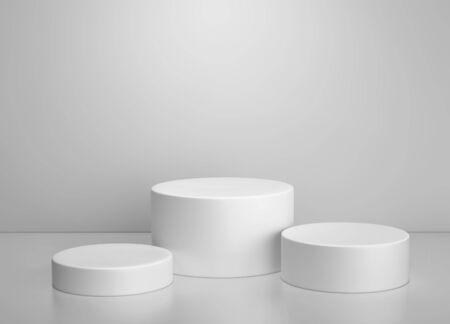 White cylinder podium, product display stand on gray background. 3D rendering