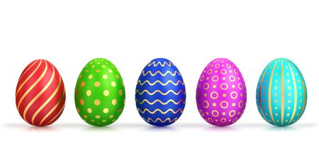 Five easter eggs with different colors and gold pattern isolated on white. 3D rendering