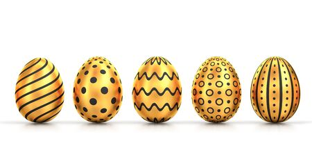 Five golden easter eggs with different patterns isolated on white. 3D rendering