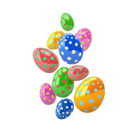 Falling glossy easter eggs with different colors and pattern isolated on white. 3D rendering Zdjęcie Seryjne