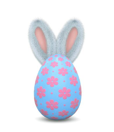 Fluffy bunny behind easter egg isolalated on white. 3D rendering Zdjęcie Seryjne