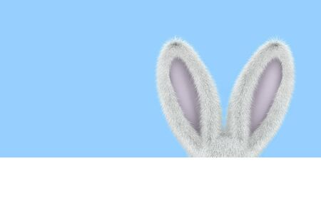 Easter greeting card with rabbit ears on blue background. 3D rendering Zdjęcie Seryjne - 136673747
