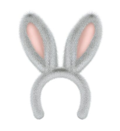 Furry bunny ears, easter mask isolated on white. 3D rendering