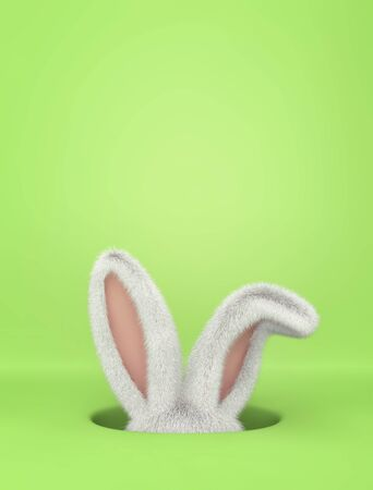 Rabbit in hole on green background. Easter greeting card with copy space. 3D rendering
