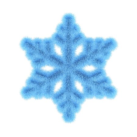 Blue furry snowflake isolated on white. 3D rendering