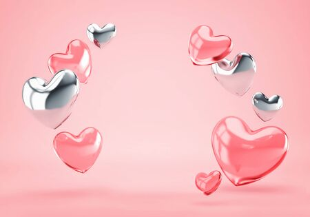 Valentines day, birthday greeting card with silver and glass pink hearts. 3D rendering