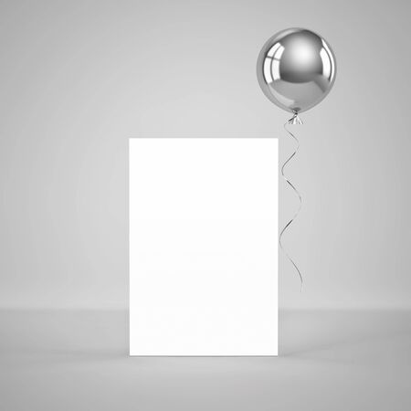 Blank paper template standing on the floor with silver foil balloon on gray background. 3D rendering Zdjęcie Seryjne - 136673505