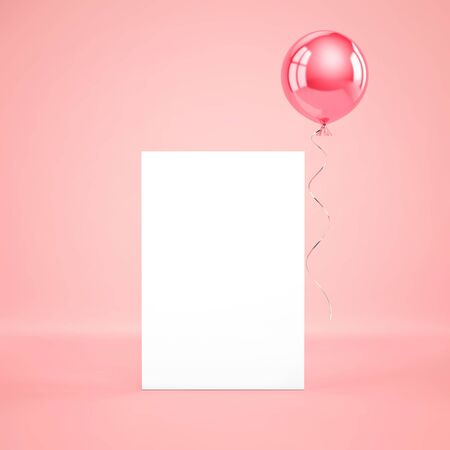 Blank paper template standing on the floor with pink foil balloon on pink background. 3D rendering Zdjęcie Seryjne - 136326897