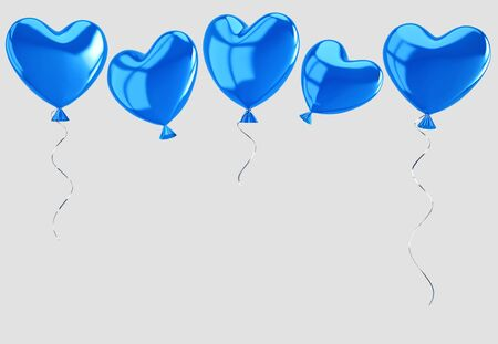 Flying blue balloons in form of heart isolated on gray background. 3D rendering with