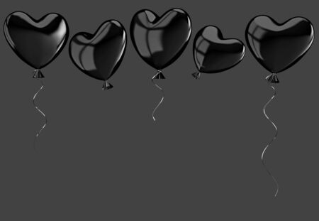 Flying black balloons in form of heart isolated on gray background. 3D rendering with Zdjęcie Seryjne - 136673507