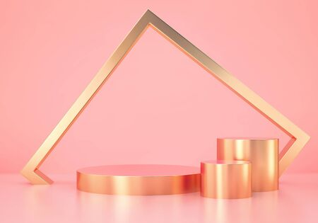 Minimal abstract scene with golden podium and golden frame on pink background. 3D rendering