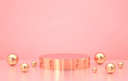 Minimal abstract scene with golden podium and golden spheres on pink background. 3D rendering Zdjęcie Seryjne