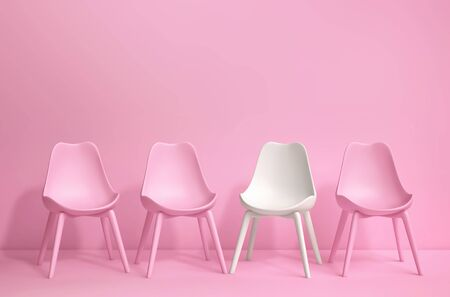 Modern pink and white chairs standing in pink room with copy space. 3D rendering