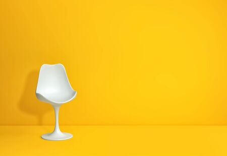 Modern white chair in yellow room with copy space. 3D rendering Zdjęcie Seryjne