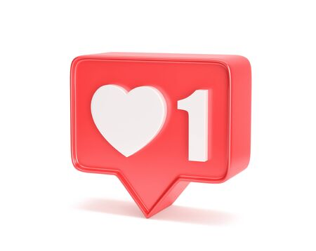 Social media notification icon. Like symbol with number 1 isolated on white. 3D rendering with clipping path