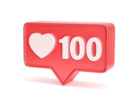 Social media notification icon. Like symbol with number 100 isolated on white. 3D rendering with clipping path