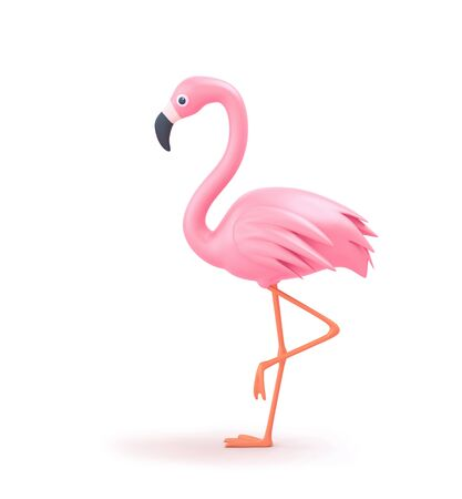 Pink flamingo isolated on white. 3D rendering with clipping path
