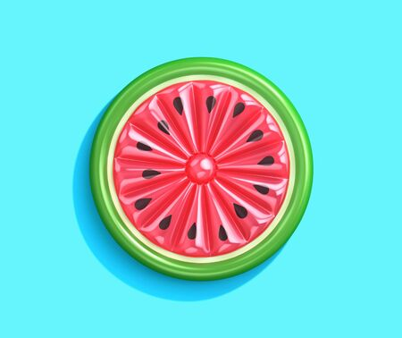 Inflatable watermelon slice isolated on blue background,  top view. 3D rendering Zdjęcie Seryjne