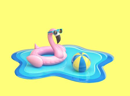Inflatable flamingo in sunglasses and beach ball floating on the surface of blue water isolated on on yellow background. 3D rendering Zdjęcie Seryjne