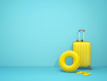 Summer vacation concept. Yellow suitcase, sunglasses, swimming ring and flip flops on blue background. 3D rendering